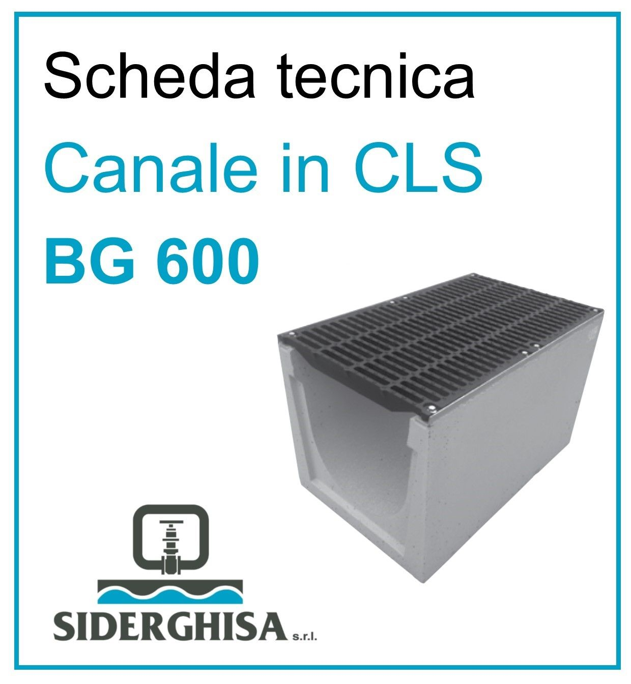 frontespizio scheda tecnica canale bg 600