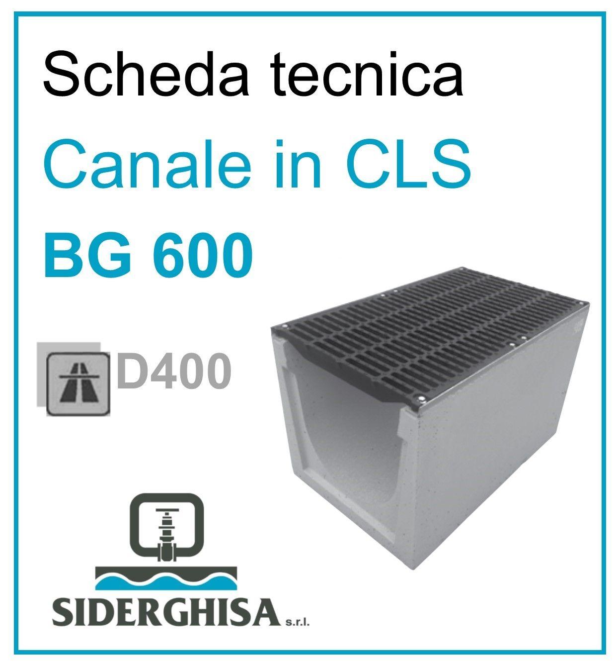 frontespizio scheda tecnica canale bg 600 D400