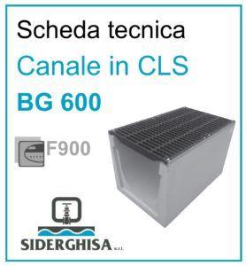 frontespizio scheda tecnica canale bg 600 F900